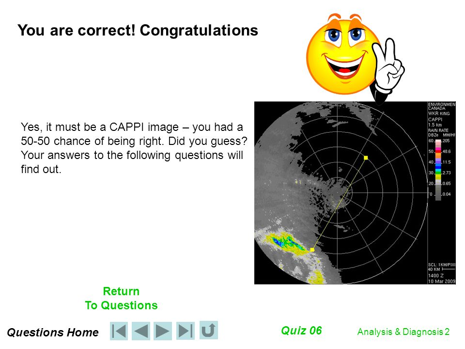 Quiz 06 Return To Questions Analysis & Diagnosis 2 Yes, it must be a CAPPI image – you had a 50-50 chance of being right.