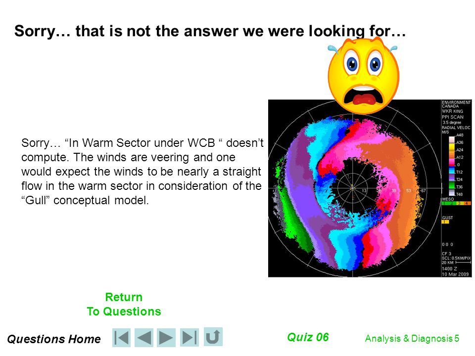 Questions Home Quiz 06 Return To Questions Analysis & Diagnosis 5 Sorry… that is not the answer we were looking for… Sorry… In Warm Sector under WCB doesn't compute.