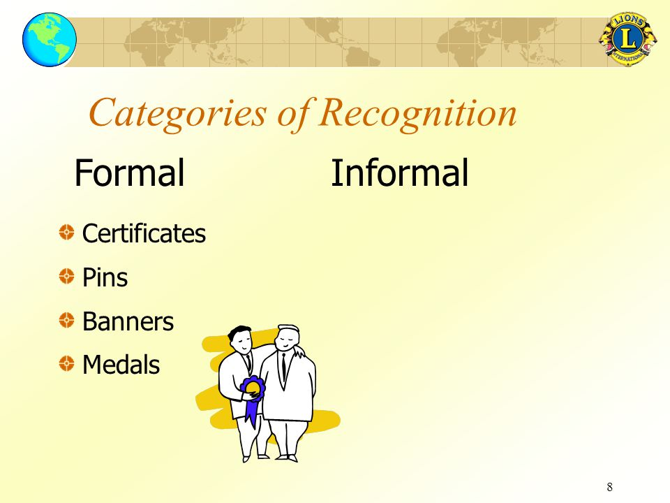 9 Categories of Recognition Certificates Pins Banners Medals Everyday ways to show appreciation Appropriate, genuine, and continuous Worth becoming a habit FormalInformal