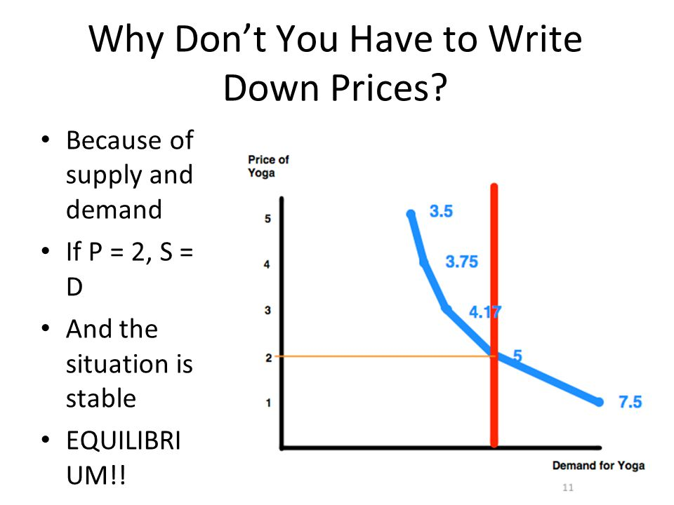 23 Why Don't You Have to Write Down Prices? Because of supply and demand If P = 2, S = D And the situation is stable EQUILIBRI UM!!