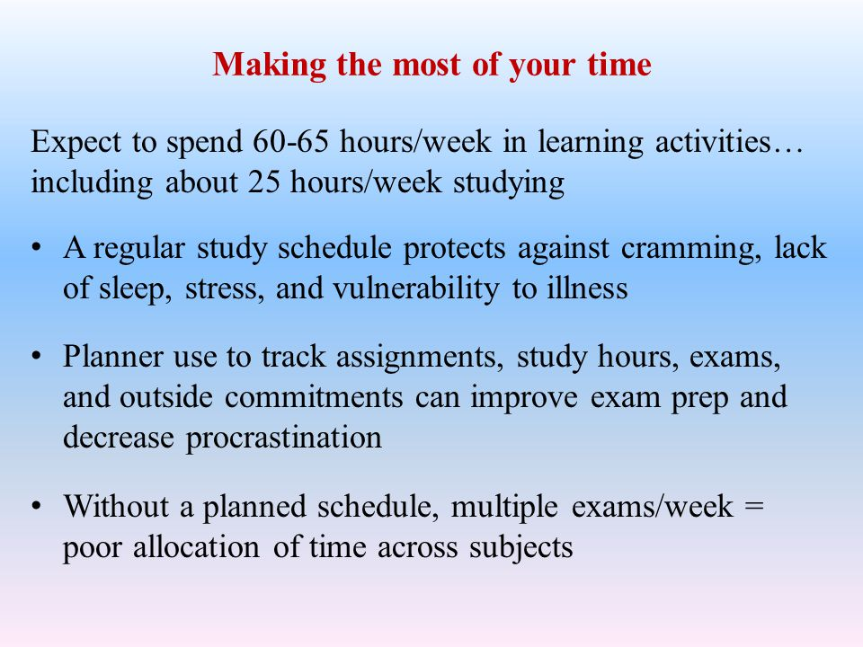 Procrastination, goals, motivation, encouragement Procrastination is fueled by perfectionism and difficulty initiating work on high priority tasks Set daily goals & checkpoints, do work before escapes Hardest work when most alert, 3 hr.