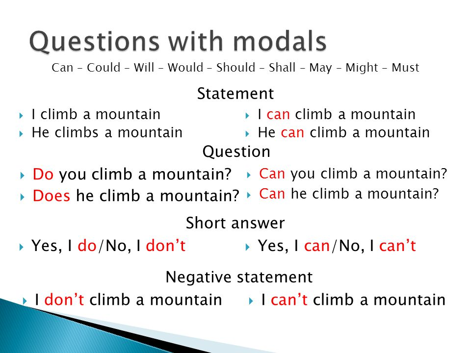  I can climb a mountain  He can climb a mountain Can – Could – Will – Would – Should – Shall – May – Might – Must  I climb a mountain  He climbs a