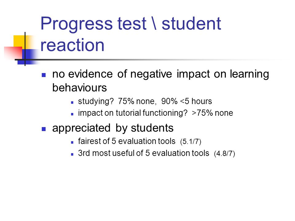 Progress test \ student reaction no evidence of negative impact on learning behaviours studying.
