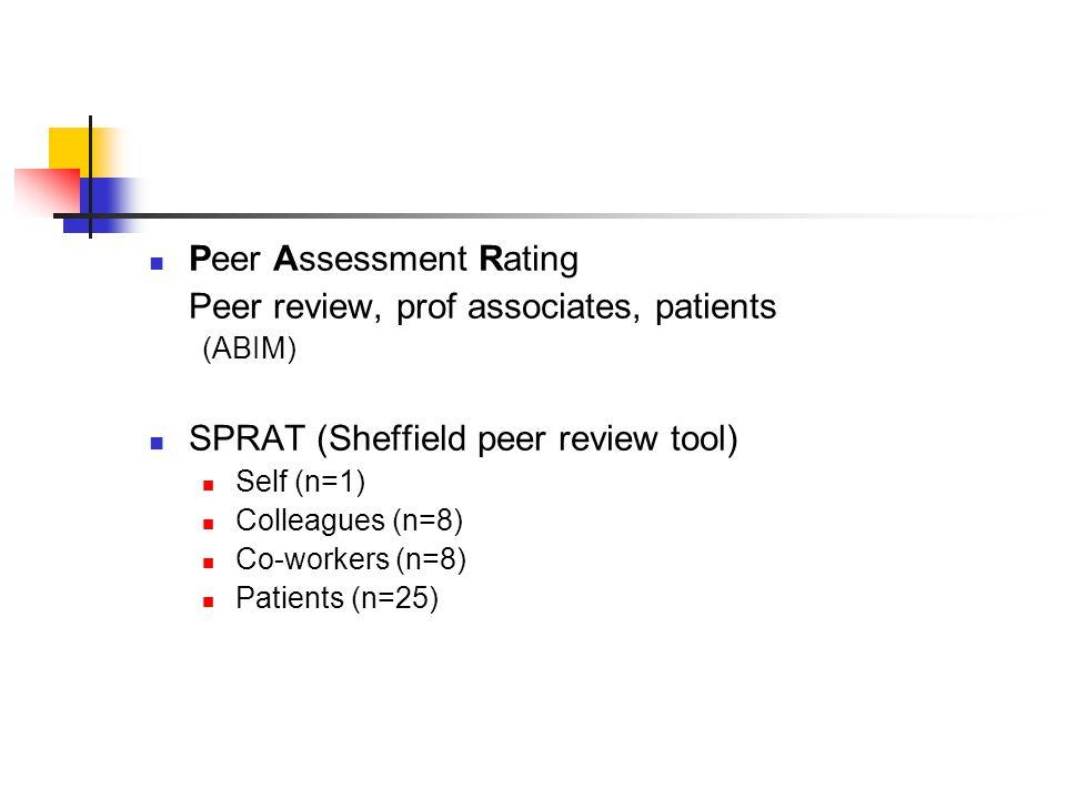 Peer Assessment Rating Peer review, prof associates, patients (ABIM) SPRAT (Sheffield peer review tool) Self (n=1) Colleagues (n=8) Co-workers (n=8) Patients (n=25)