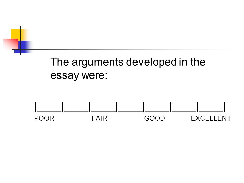 The arguments developed in the essay were: |____|____|____|____|____|____|____| POOR FAIR GOOD EXCELLENT