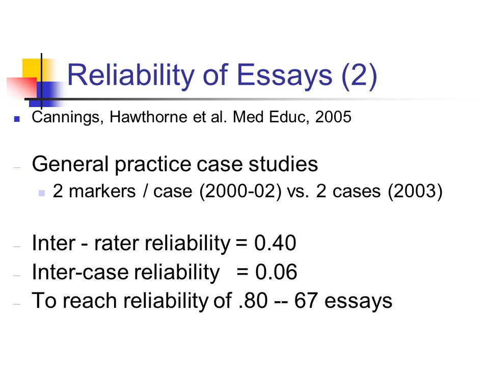 Reliability of Essays (2) Cannings, Hawthorne et al.
