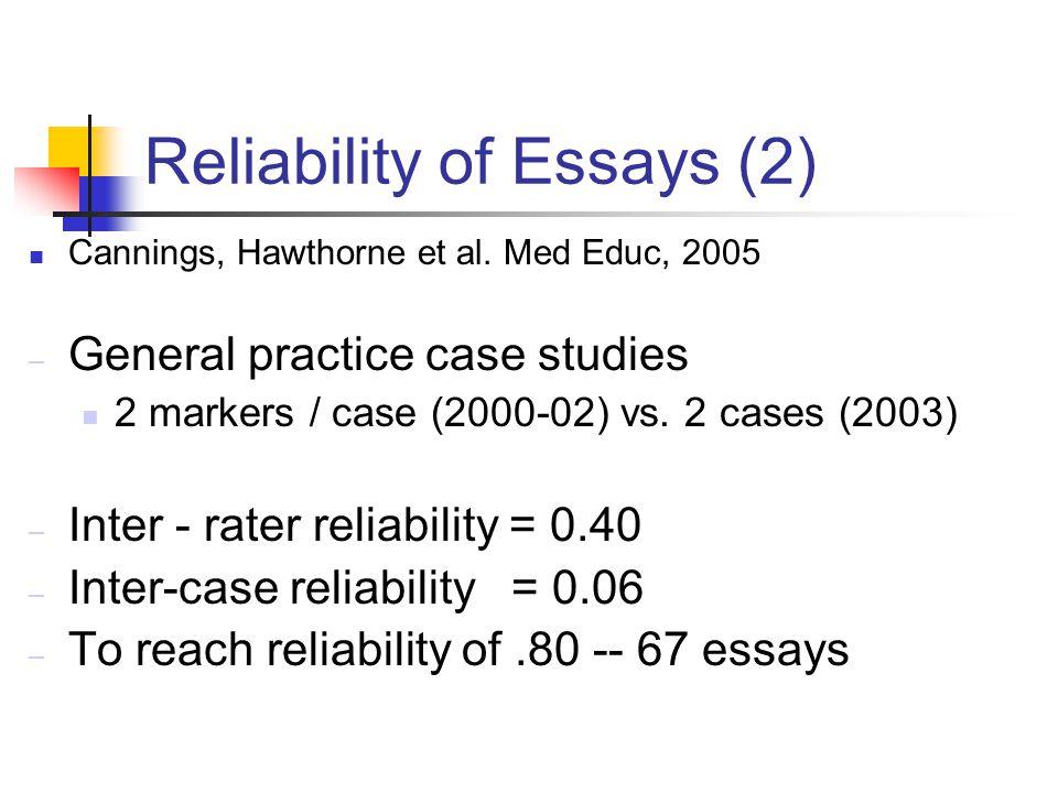 Reliability of Essays (2) Cannings, Hawthorne et al.