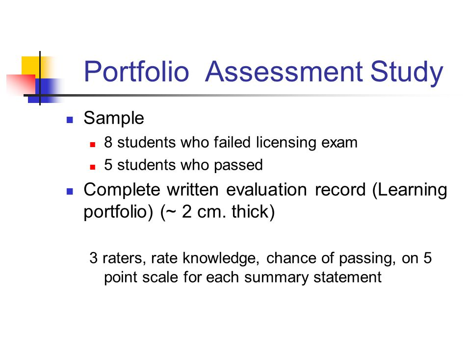 Portfolio Assessment Study Sample 8 students who failed licensing exam 5 students who passed Complete written evaluation record (Learning portfolio) (~ 2 cm.
