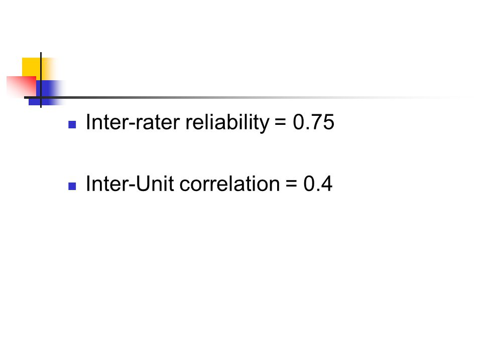 Inter-rater reliability = 0.75 Inter-Unit correlation = 0.4
