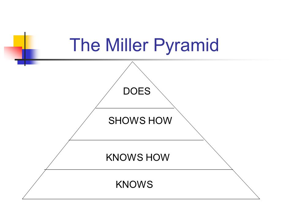 The Miller Pyramid KNOWS KNOWS HOW SHOWS HOW DOES