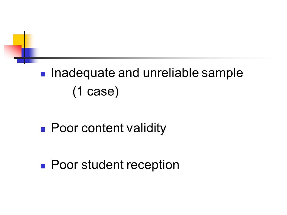 Inadequate and unreliable sample (1 case) Poor content validity Poor student reception