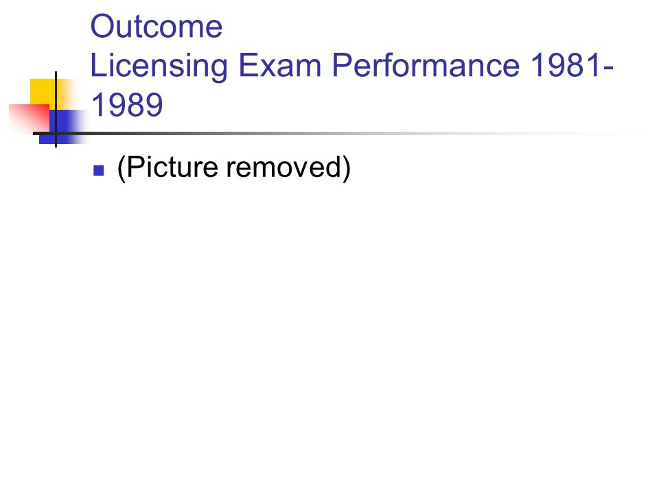 Outcome Licensing Exam Performance 1981- 1989 (Picture removed)
