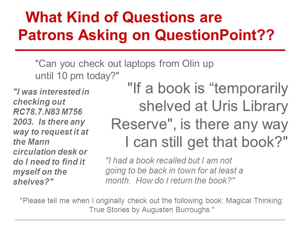 What Kind of Questions are Patrons Asking on QuestionPoint??