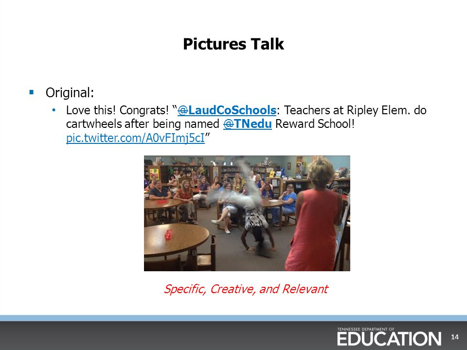 "Pictures Talk  Original: Love this! Congrats! ""@LaudCoSchools: Teachers at Ripley Elem. do cartwheels after being named @TNedu Reward School! pic.twi"