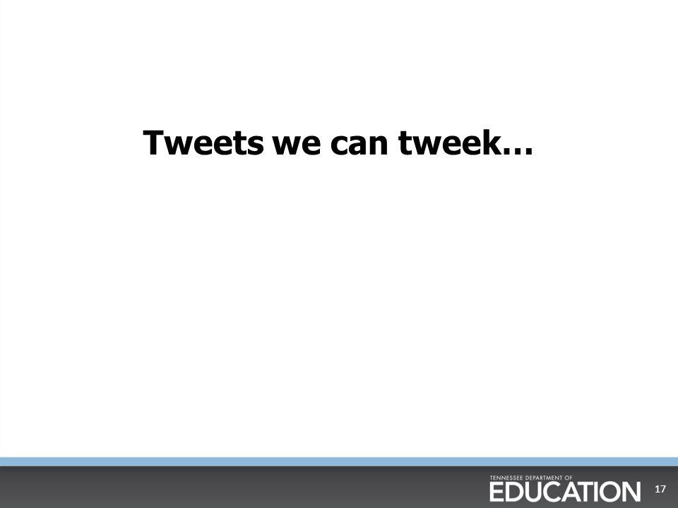 Tweets we can tweek… 17