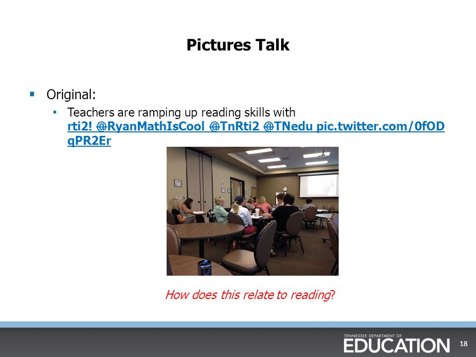 Pictures Talk  Original: Teachers are ramping up reading skills with rti2!  @RyanMathIsCool  @TnRti2  @TNedu  pic.twitter.com/0fOD qPR2Er rti2! 
