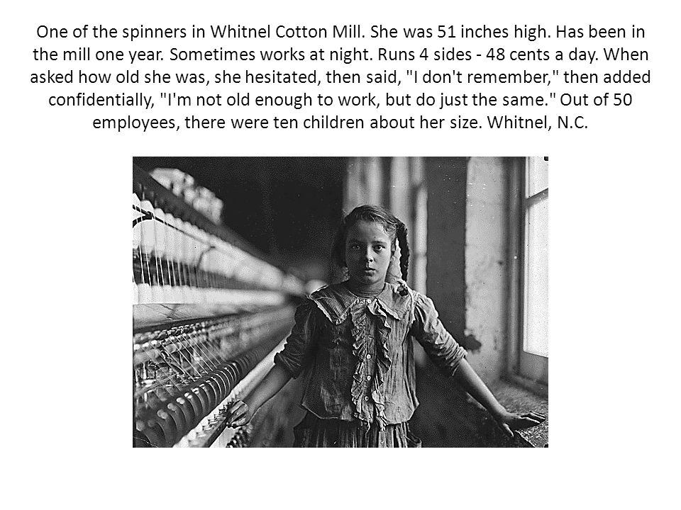 One of the spinners in Whitnel Cotton Mill. She was 51 inches high. Has been in the mill one year. Sometimes works at night. Runs 4 sides - 48 cents a