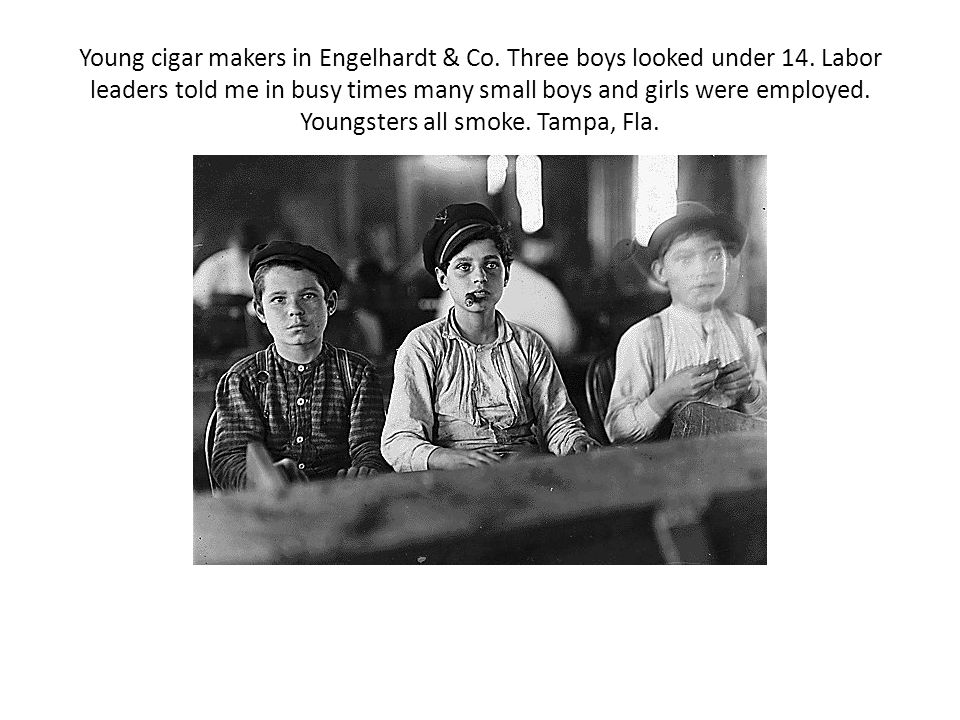 Young cigar makers in Engelhardt & Co. Three boys looked under 14. Labor leaders told me in busy times many small boys and girls were employed. Youngs