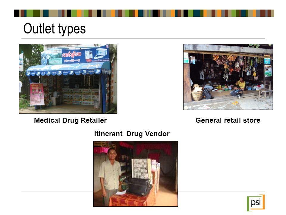 Outlet types Medical Drug RetailerGeneral retail store Itinerant Drug Vendor