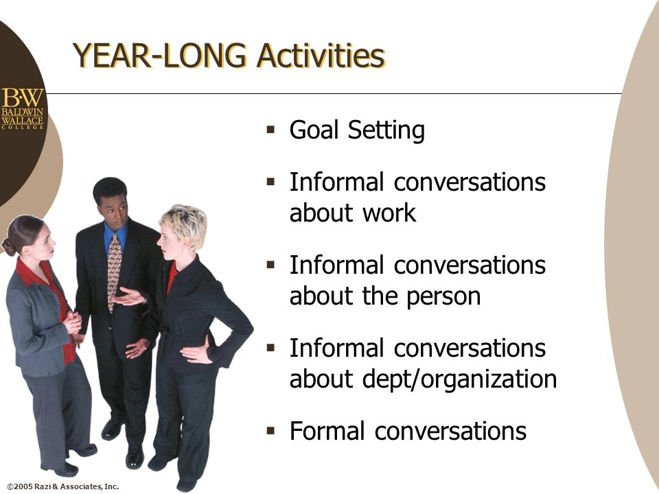 ©2005 Razi & Associates, Inc. YEAR-LONG Activities  Goal Setting  Informal conversations about work  Informal conversations about the person  Info