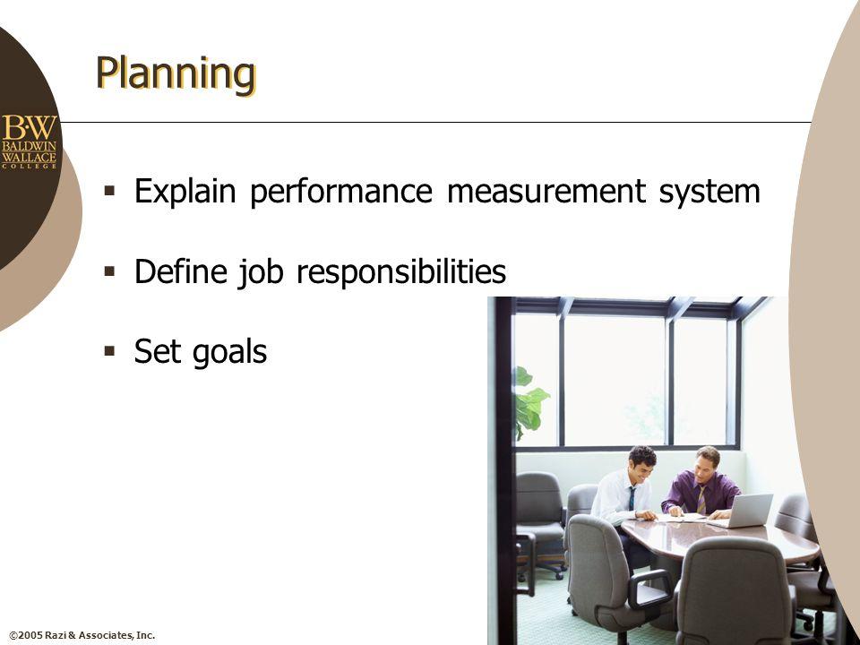 ©2005 Razi & Associates, Inc. Planning  Explain performance measurement system  Define job responsibilities  Set goals