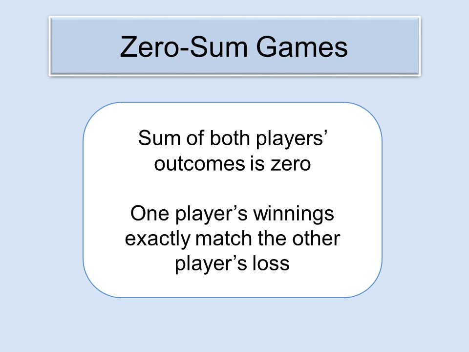 Sum of both players' outcomes is zero One player's winnings exactly match the other player's loss Zero-Sum Games