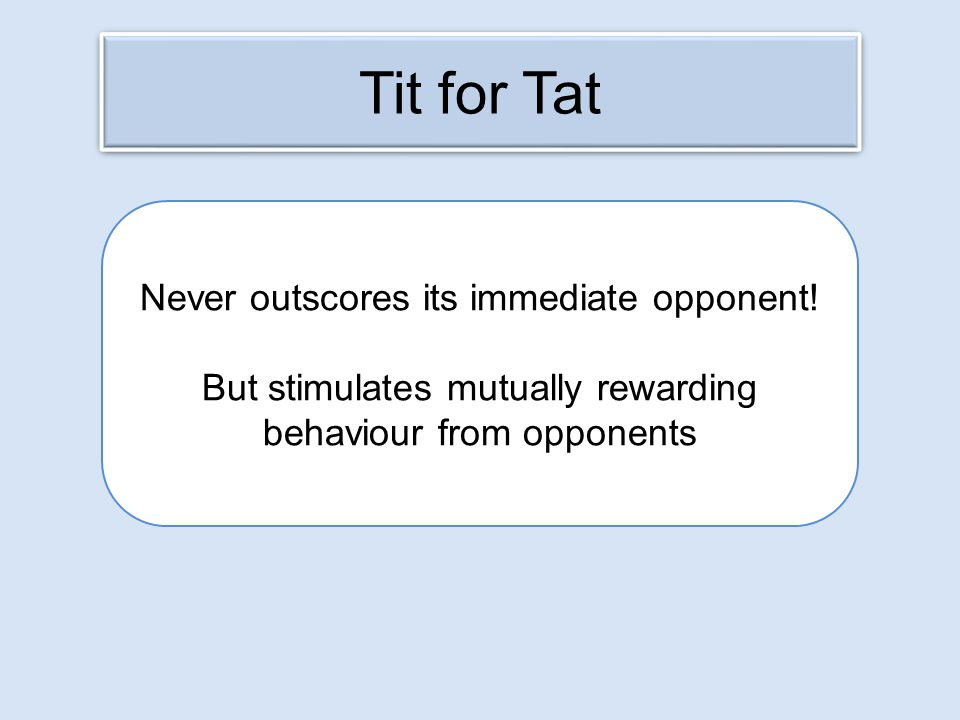 Tit for Tat Never outscores its immediate opponent! But stimulates mutually rewarding behaviour from opponents