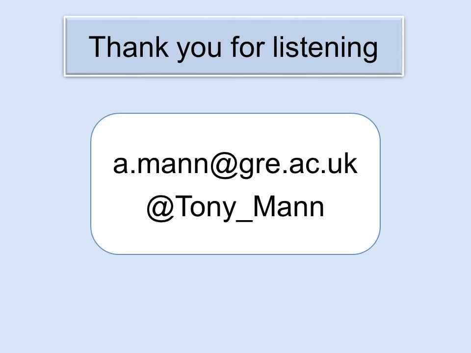 Thank you for listening a.mann@gre.ac.uk @Tony_Mann