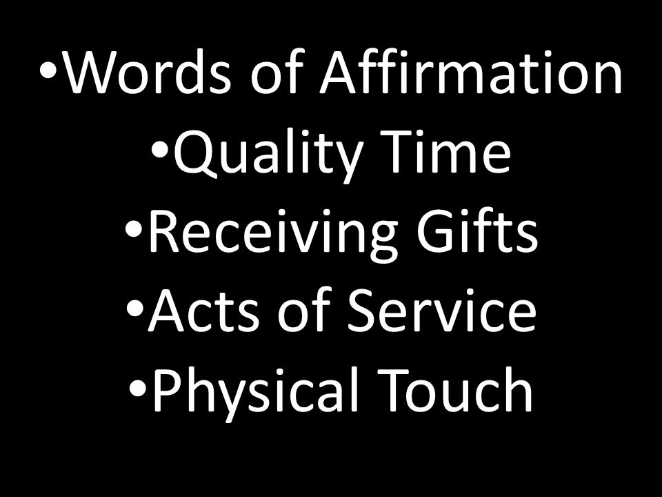Words of Affirmation Quality Time Receiving Gifts Acts of Service Physical Touch