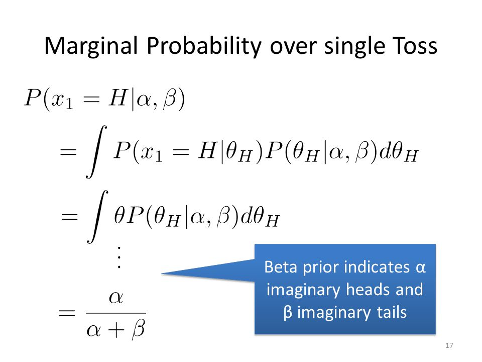 Marginal Probability over single Toss 17 Beta prior indicates α imaginary heads and β imaginary tails