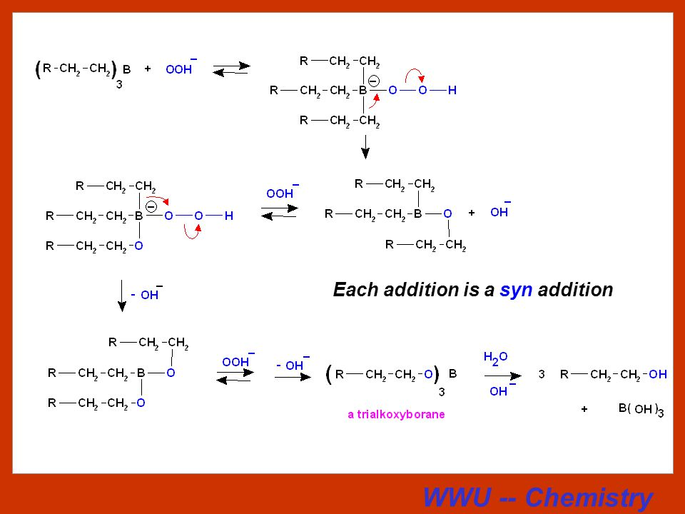 WWU -- Chemistry Hydroboration - Oxidation The product is an alcohol, but in this case it is the regioisomer of the one obtained by hydration of an alkene or by oxymercuration.
