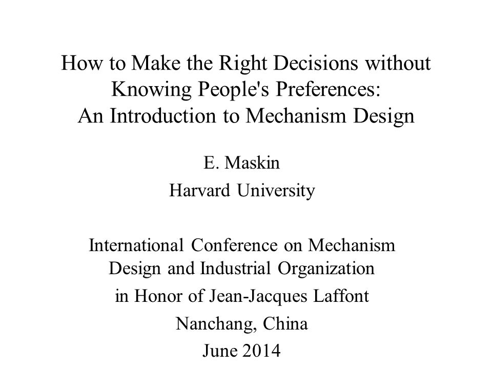 2 Theory of Mechanism Design – engineering part of economic theory much of economic theory devoted to: –understanding existing economic institutions –explaining/predicting outcomes that institutions generate –positive, predictive mechanism design – reverses the direction –begins by identifying desired outcomes (goals) –asks whether institutions (mechanisms) could be designed to achieve goals –if so, what forms would institutions take.