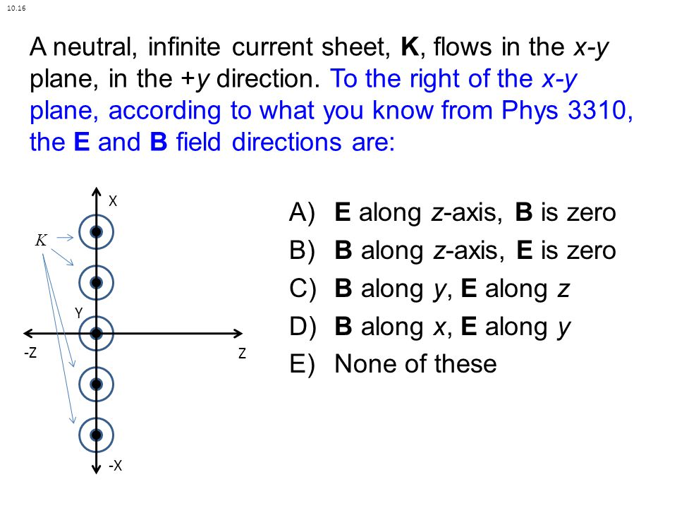 A neutral, infinite current sheet, K, flows in the x-y plane, in the +y direction.