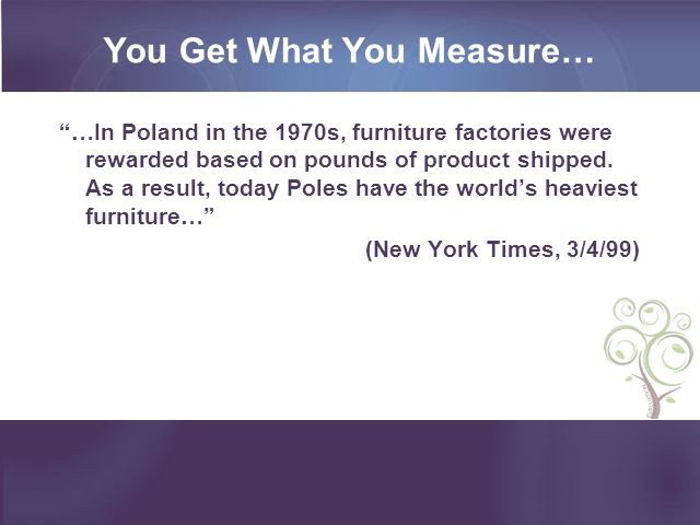 You Get What You Measure… …In Poland in the 1970s, furniture factories were rewarded based on pounds of product shipped.