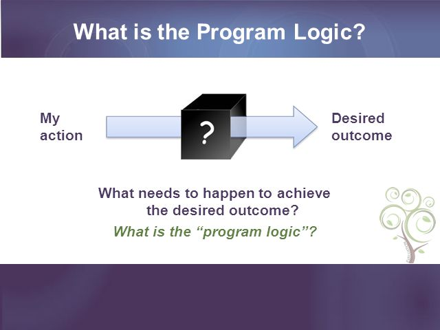 What is the Program Logic. What needs to happen to achieve the desired outcome.