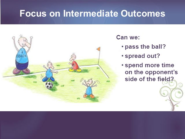 Focus on Intermediate Outcomes Can we: pass the ball.