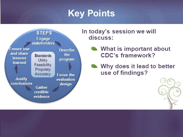 Key Points In today's session we will discuss: What is important about CDC's framework.