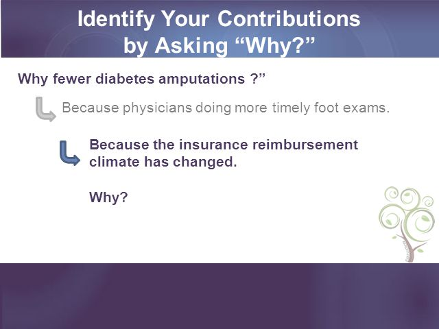 Identify Your Contributions by Asking Why? Because physicians doing more timely foot exams.