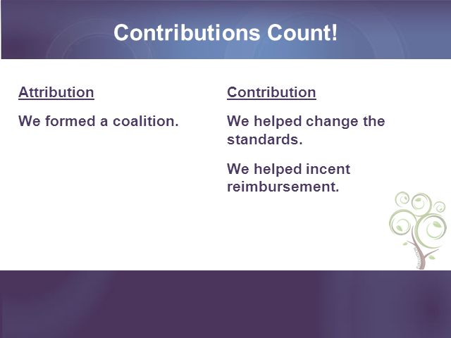 Contributions Count. Attribution We formed a coalition.