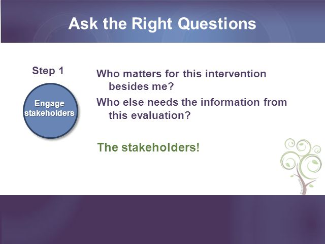 Ask the Right Questions Who matters for this intervention besides me.