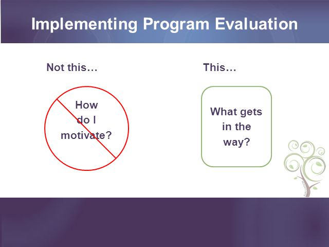 Implementing Program Evaluation How do I motivate? What gets in the way? Not this…This…