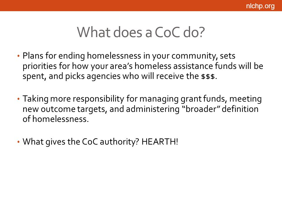 nlchp.org What does a CoC do.