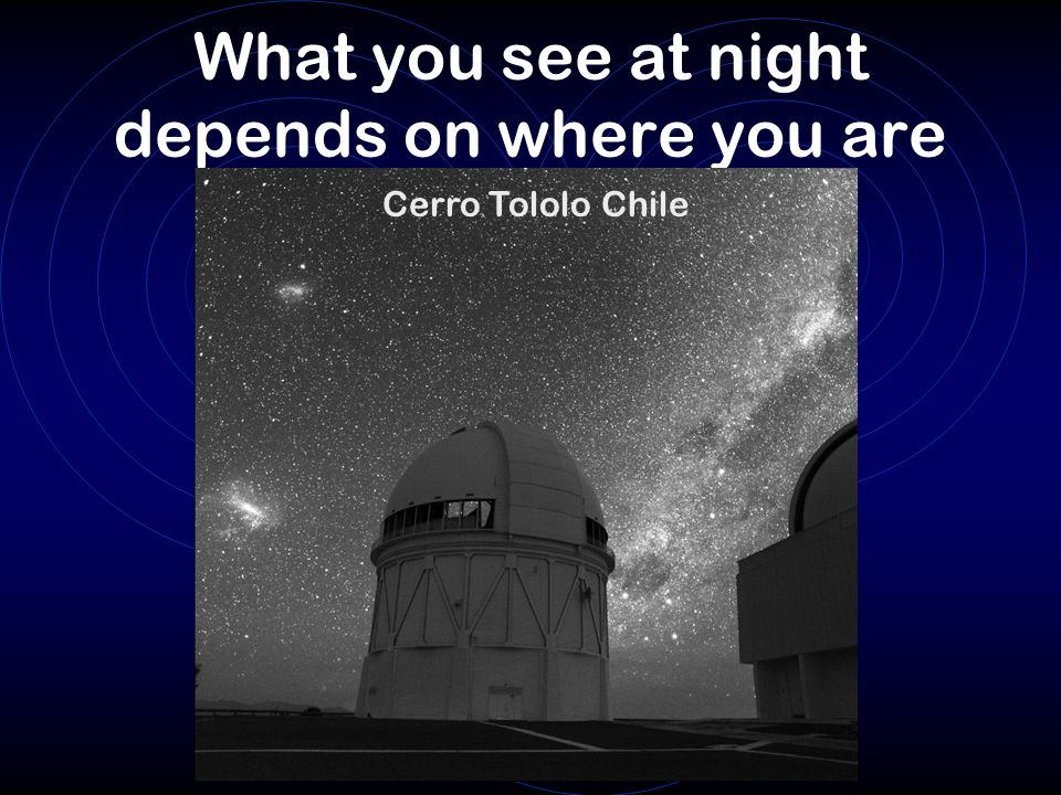 What you see at night depends on where you are Cerro Tololo Chile