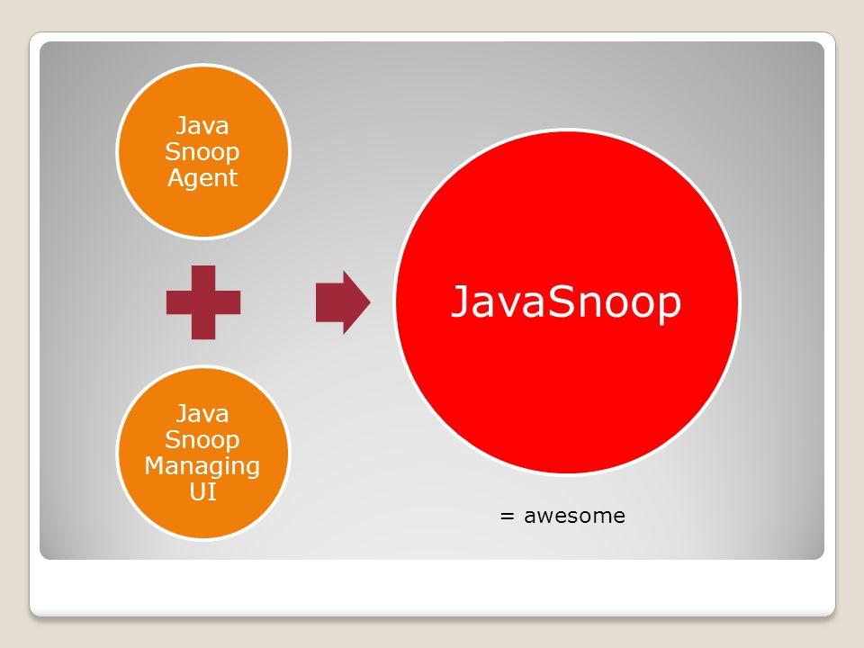Java Snoop Agent Java Snoop Managing UI JavaSnoop = awesome