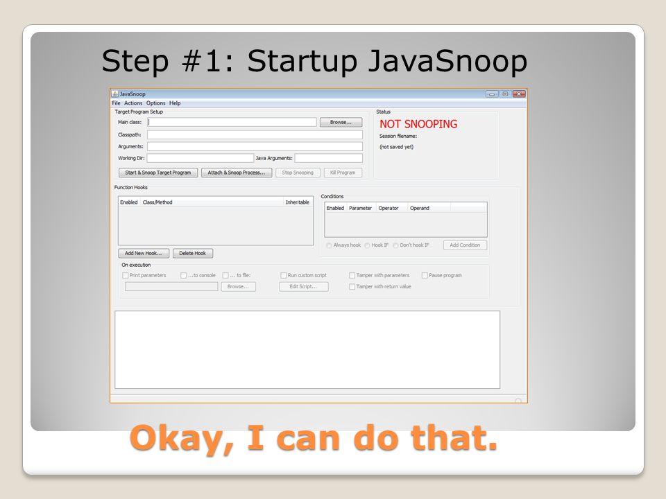 Step #1: Startup JavaSnoop Okay, I can do that.