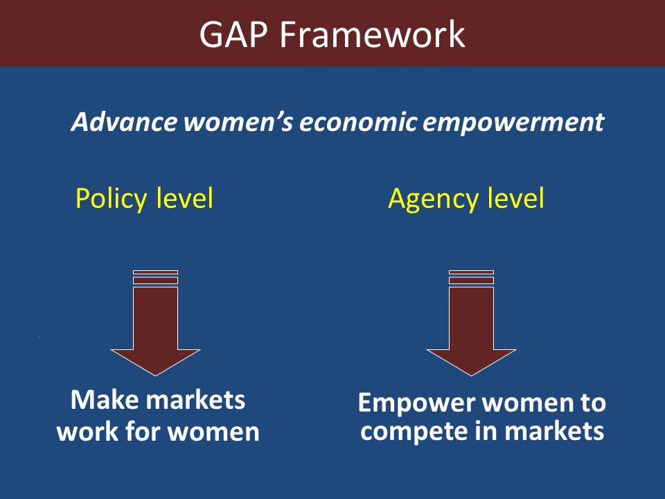 Policy level Agency level Empower women to compete in markets Make markets work for women Advance women's economic empowerment GAP Framework