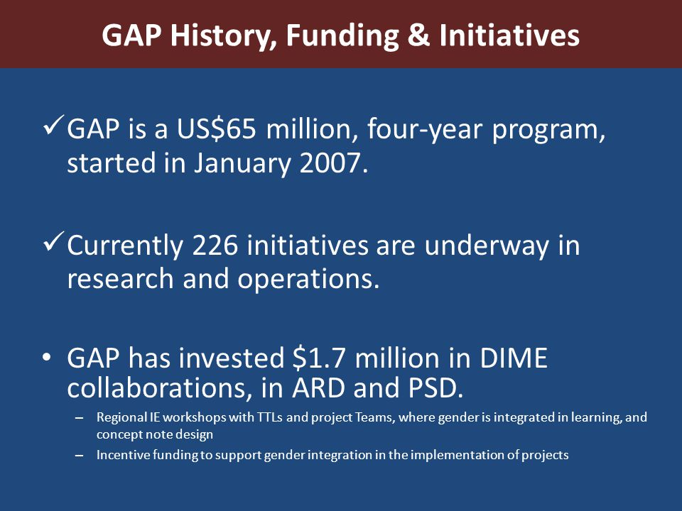 GAP History, Funding & Initiatives GAP is a US$65 million, four-year program, started in January 2007. Currently 226 initiatives are underway in resea