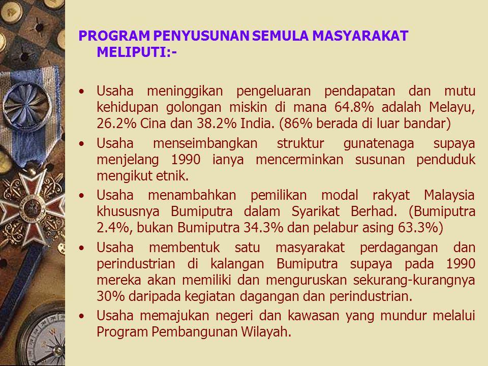 PROGRAM PENYUSUNAN SEMULA MASYARAKAT MELIPUTI:- Usaha meninggikan pengeluaran pendapatan dan mutu kehidupan golongan miskin di mana 64.8% adalah Melay