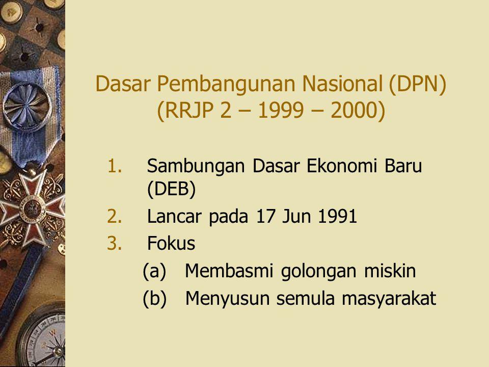 Dasar Pembangunan Nasional (DPN) (RRJP 2 – 1999 – 2000) 1.Sambungan Dasar Ekonomi Baru (DEB) 2.Lancar pada 17 Jun 1991 3.Fokus (a) Membasmi golongan m