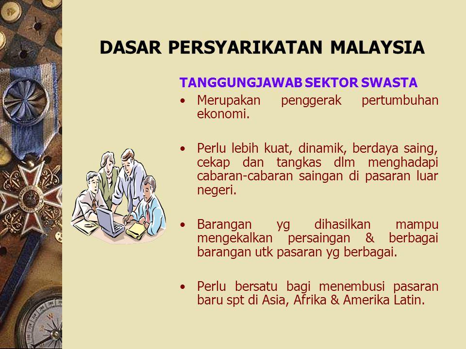 DASAR PERSYARIKATAN MALAYSIA TANGGUNGJAWAB SEKTOR SWASTA Merupakan penggerak pertumbuhan ekonomi. Perlu lebih kuat, dinamik, berdaya saing, cekap dan